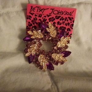 New purple crystal brooch